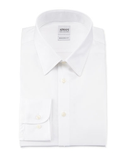 Modern Fit White Dress Shirt by Armani Collezioni in Demolition