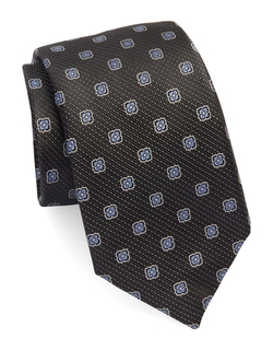 Floral Textured Tie by Black Brown 1826 in Billions