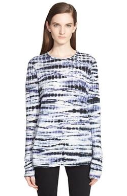 Tie Dye Tissue Jersey Long Sleeve Tee by Proenza Schouler in Black-ish