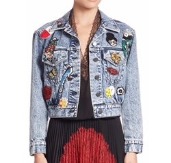 Chloe Embellished Denim Jacket by Alice + Olivia in Fuller House