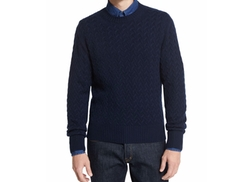 Melange Cable-Knit Crewneck Sweater by Tom Ford in Keeping Up with the Joneses