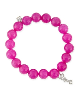 Fuchsia Agate Beaded Bracelet by Sydney Evan in Pitch Perfect 2