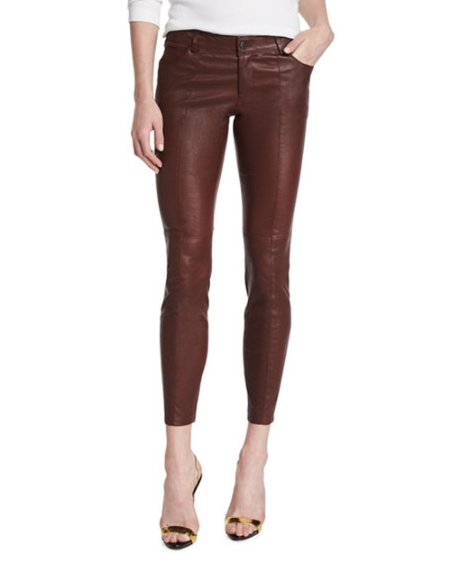 Low-Rise Leather Skinny Pants by Haute Hippie in Pretty Little Liars - Season 6 Episode 16