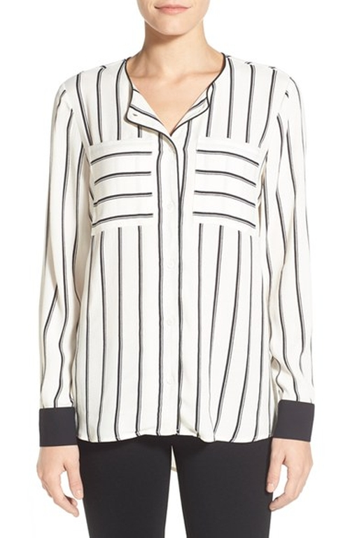 Slim Stripe Collarless Blouse by Vince Camuto in A Very Murray Christmas