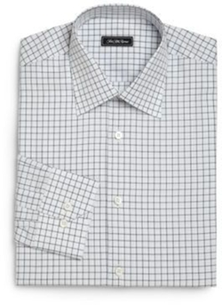 Regular-Fit Checked Dress Shirt by Saks Fifth Avenue Collection in Power