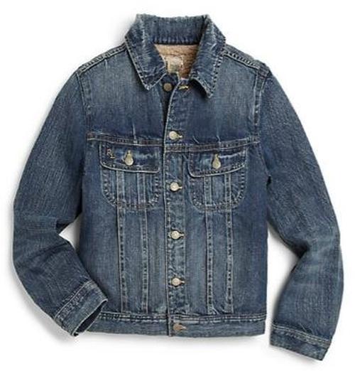 Faux Shearling-Lined Denim Trucker Jacket by Ralph Lauren in Midnight Special