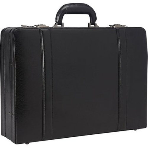Expandable Attaché Case by Mancini Leather Goods in Black Mass