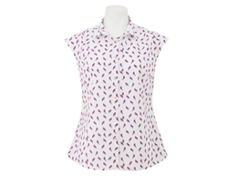 Women's White Pink Bird Sem Fitted Sleeveless Shirt by Savile Row Company in Me Before You