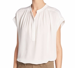 Silk Shirred-Neck Cap-Sleeve Blouse by Vince in The Ranch