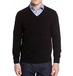 Cashmere V-Neck Sweater by Neiman Marcus in Arrow