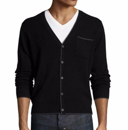 Cashmere Contrast-Tip Modern Cardigan by Neiman Marcus in New Girl