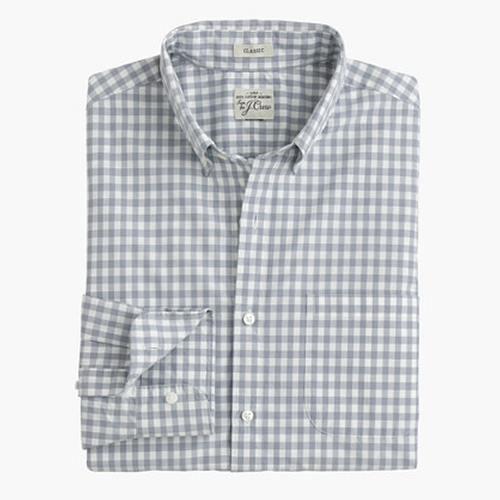 Secret Wash Shirt In Stone Blue Gingham by J.Crew in Arrow