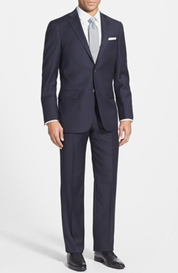 Classic Fit Wool Suit by Hart Schaffner Marx in Black Mass