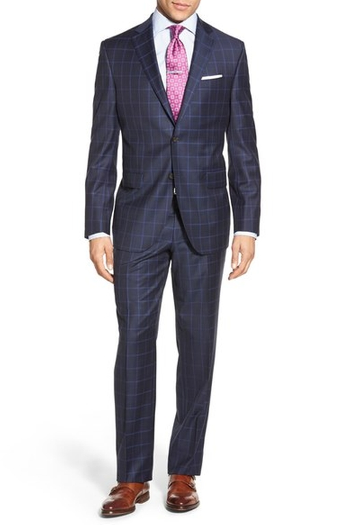 Classic Fit Windowpane Wool Suit by David Donahue in Chelsea - Season 1 Episode 4