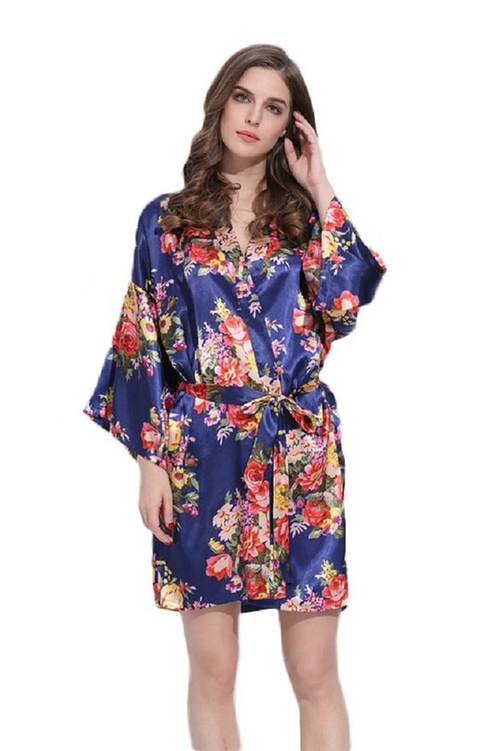 Gorgeous Floral Navy Robe by Modern Celebrations in New Girl - Season 5 Episode 1