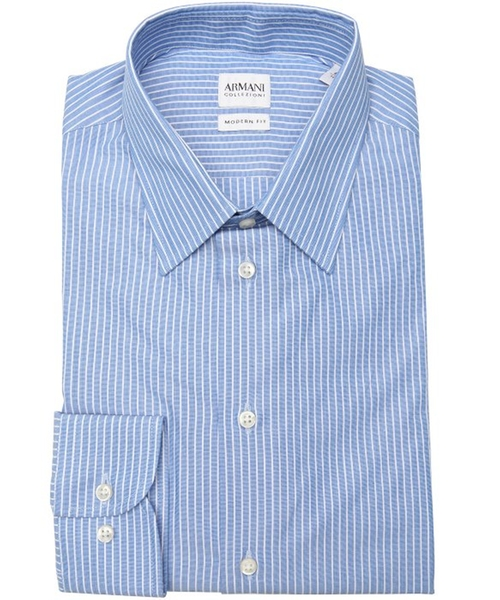 Stripe Pattern Cotton Point Collar Dress Shirt by Armani in Wanted