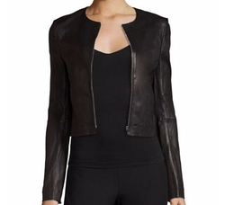 Helen Fitted Cropped Leather Jacket by Elizabeth and James in Supergirl