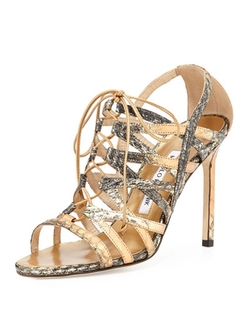 Ostramma Snakeskin Cage Sandal by Manolo Blahnik	 in Empire