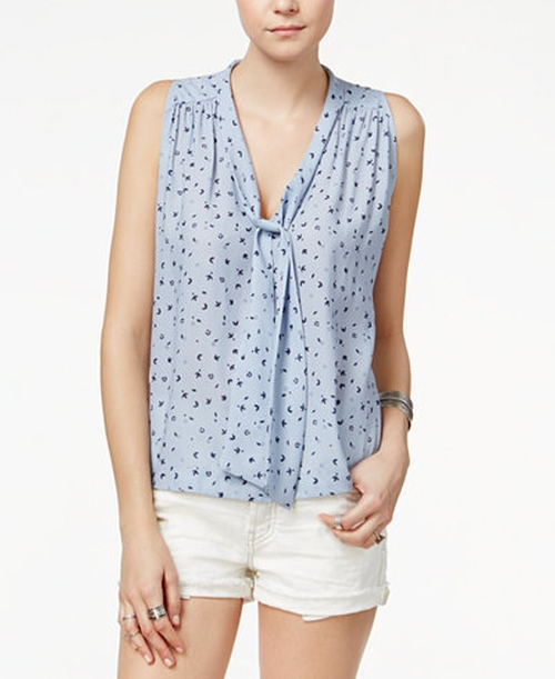 Sleeveless Tie-Neck Blouse by Free People in Pretty Little Liars