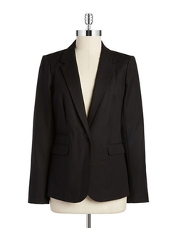 Single Button Cotton Blazer by Vince Camuto in Rosewood