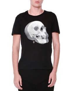 Optic Skull-Printed Short-Sleeve T-Shirt by Alexander McQueen in Ballers