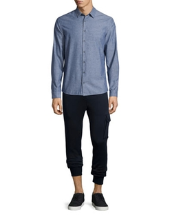 Chambray Long-Sleeve Shirt by ATM in Billions