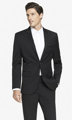 Black Wool Blend Producer Suit Jacket by Express in The Flash