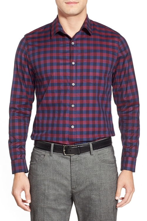 Trim Fit Herringbone Check Sport Shirt by Lanai Collection in The Intern
