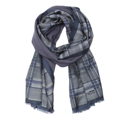 Blue Plaid Patterned Silk Infinity Scarf by Alexander McQueen in The Boss