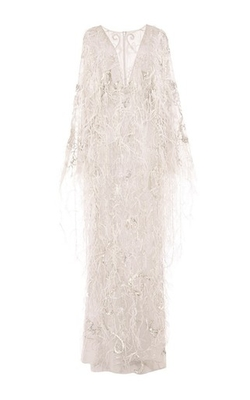 Re-Embroidered Ostrich Feather Applique Gown by Marchesa in Keeping Up With The Kardashians