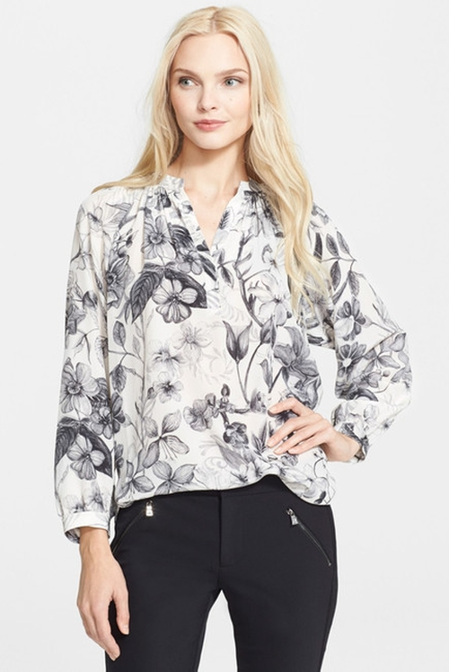 Long Sleeve Botanical Print Silk Blouse by Rebecca Taylor in Master of None - Season 1 Episode 8