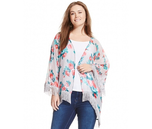 Floral-Print Fringed Kimono Cardigan by Jessica Simpson in Jem and the Holograms