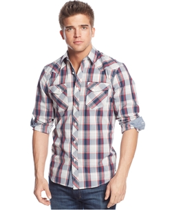 Western Plaid Long Sleeve Shirt by American Rag in New Girl
