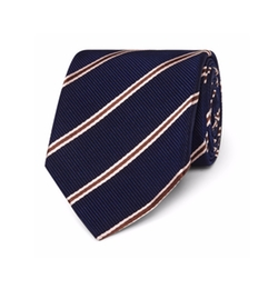 Striped Silk And Cotton-Blend Faille Tie by Kingsman + Drake's in Kingsman: The Golden Circle