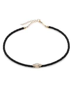 Leather Braided Choker Necklace by Jacquie Aiche in Chelsea