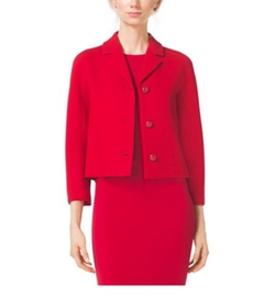 Stretch Bouclé-Crepe Cropped Jacket by Michael Kors Collection in Scandal
