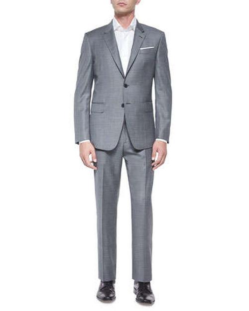 Bayard Sharkskin Two-Piece Wool Suit by Paul Smith in Black Mass
