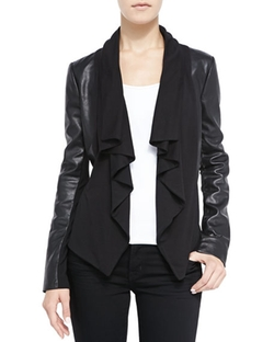 Ruffled Front-Drape Mixed Media Leather Jacket by Bagatelle in Billions