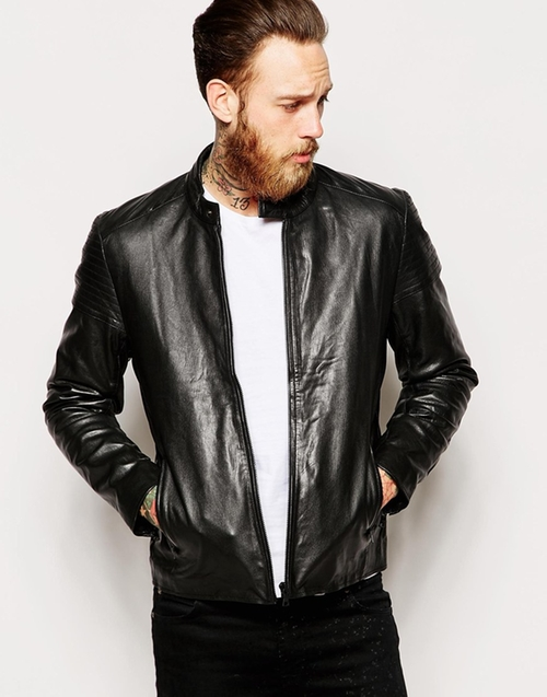 Leather Racing Biker Jacket by Asos in Freaky Friday