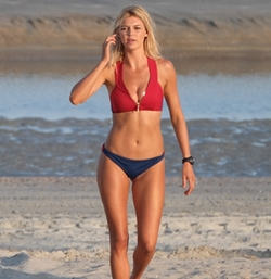 Custom Made Lifeguard Two Piece Swimsuit by Dayna Pink (Costume Designer) in Baywatch