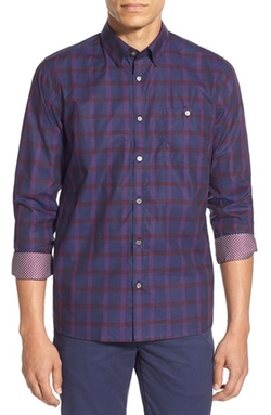 'Thepane' Modern Plaid Sport Shirt by Ted Baker London in The Flash