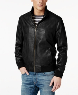 Faux-Leather Stand-Collar Bomber Jacket by Tommy Hilfiger in Guilt