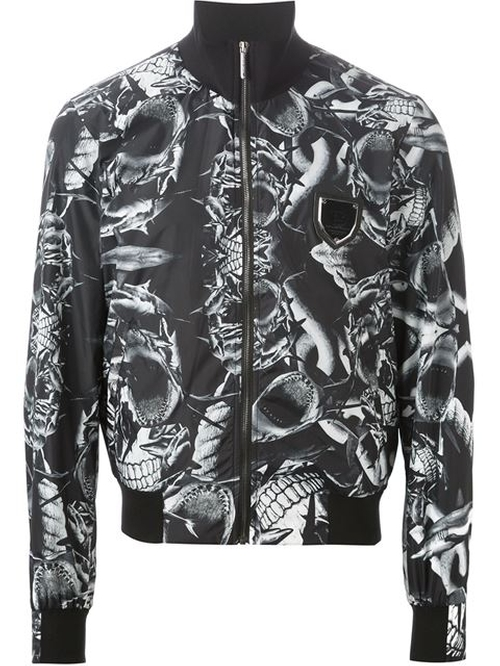 Shark Print Bomber Jacket by Philipp Plein in Black-ish - Season 2 Episode 4