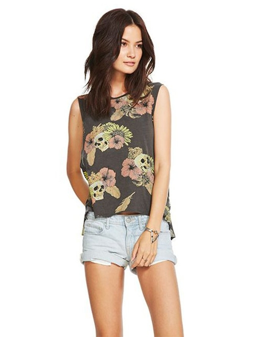 Hibiscus Skull Muscle Tank Top by Chaser in Mr. Robot