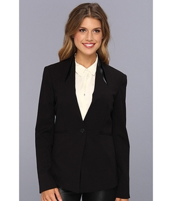 Pleather Trim One Button Blazer by Vince Camuto in The Blacklist