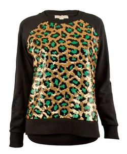 Women's Cheetah Sequin Long Sleeve Terry Shirt Top by Michael Kors in How To Be Single