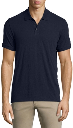 Slub Short-Sleeve Polo Shirt by Vince in Empire