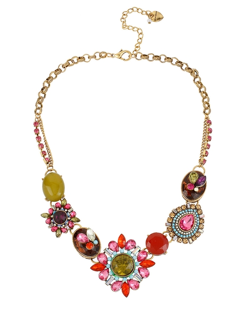 Mixed Crystal & Gemstone Statement Necklace by Betsey Johnson in Crazy, Stupid, Love.