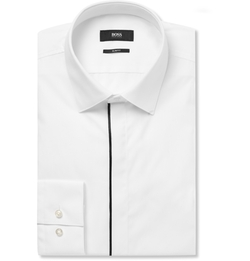 Satin-Piped Cotton Tuxedo Shirt by Hugo Boss in Popstar: Never Stop Never Stopping