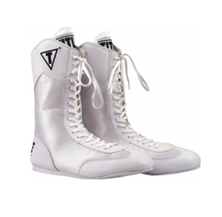 White Hi-Top Boxing Boots by Title Boxing in Hands of Stone